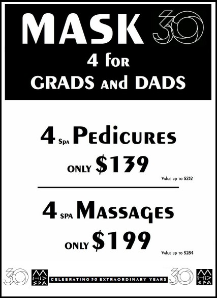 Need the perfect gift for Dads and Grads? Mask Spa Gift Certificates!